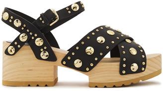 Maje Studded Leather Platform Sandals