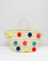 Glamorous Straw Beach Bag With Oversized Poms