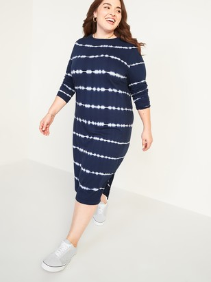 Old Navy Tie-Dye Stripe Plus-Size Midi T-Shirt Shift Dress