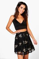 Boohoo Boutique Alala Embroidered Sequin Skater Skirt