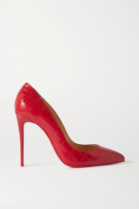 Christian Louboutin Pigalle Follies 100 Croc-effect Leather Pumps - Red