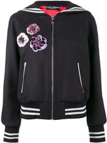 Dolce & Gabbana sequin embellished sailor collar bomber jacket - women - Silk/Polyester/Spandex/Elastane/Virgin Wool - 40