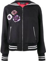 Dolce & Gabbana sequin embellished sailor collar bomber jacket - women - Virgin Wool/Silk/Spandex/Elastane/Viscose - 38