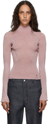 Lanvin Pink Shiny Turtleneck Sweater