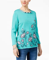 Alfred Dunner Montego Bay Beaded Embroidered Top