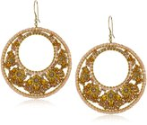 Miguel Ases Brown Garnet-Color Bead 14k Gold Filled Floral Centric Earrings