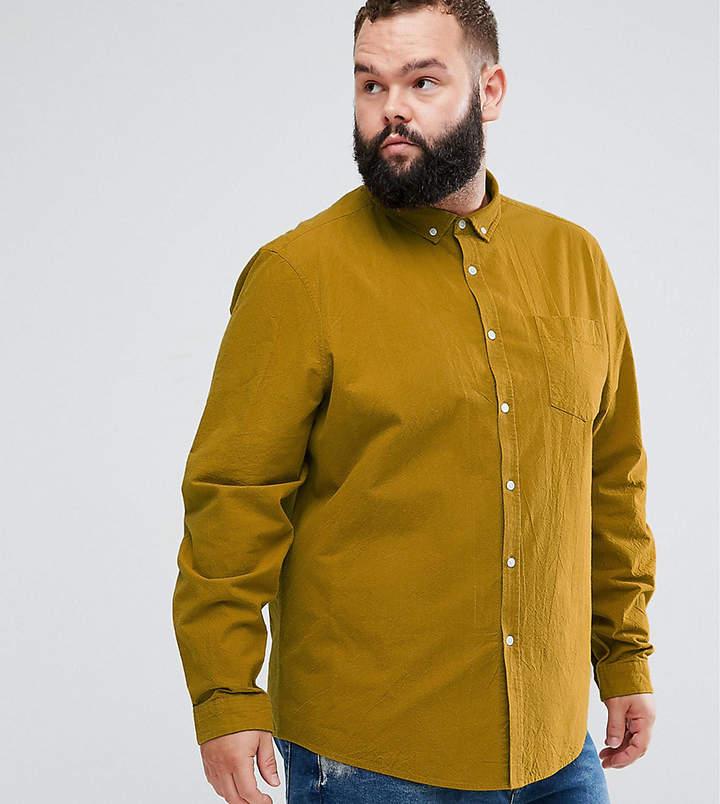Asos Design Plus Regular Fit Textured Shirt With Chest Pocket