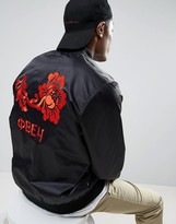 Obey Bomber Jacket With Rose Back Print