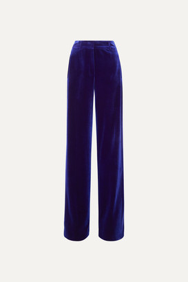 Akris Flore Stretch-velvet Wide-leg Pants - Blue