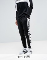 Hype Skinny Joggers In Black With Logo Panels