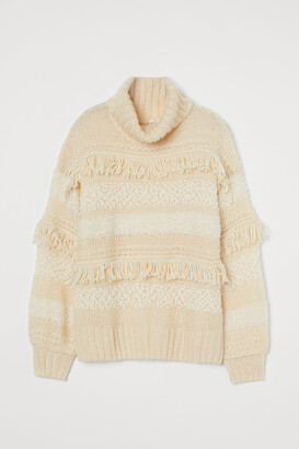 H&M Mixed-knit Turtleneck Sweater