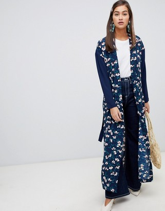 Soaked In Luxury Floral Kimono With Contrast Sleeves-Blue