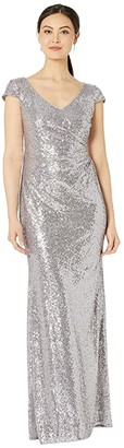 Adrianna Papell Cap Sleeve Sequin Mermaid Evening Gown (Lilac Grey) Women's Dress