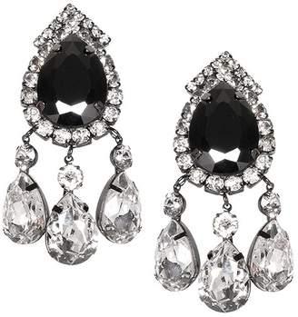 Kenneth Jay Lane Gunmetal Crystal Drop Clip Earrings