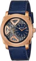 Fossil Men's ME1158 Machine Gold-Tone Stainless Steel Watch with Navy Leather Band