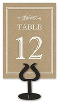 Kraft Table Card Numbers for Wedding Reception - Double Sided - 1-25