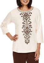 Alfred Dunner Santa Fe 3/4-Sleeve Center Scroll Tee
