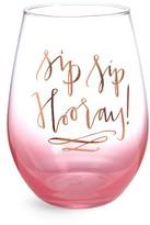 Slant Sip Sip Hooray Stemless Wine Glass