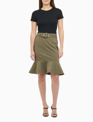 Calvin Klein Belted Ruffle Hem Pencil Skirt