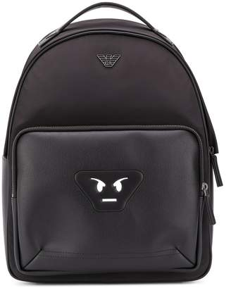 Emporio Armani signature face patch backpack