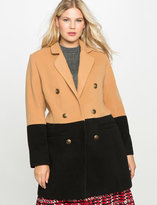 ELOQUII Plus Size Contrast Colorblock Coat