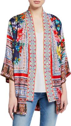 Johnny Was Bernie Multi-Print 3/4-Sleeve Silk Georgette Kimono