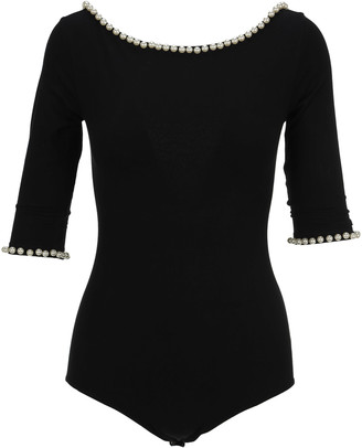 Marc Jacobs Faux-pearl Embellished Bodysuit