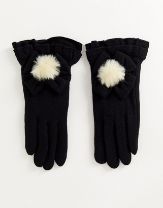 Silvia Rossini Pia Elisa Faux Fur Pom Gloves-Black