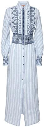 Ermanno Scervino Embroidered Linen Long Shirt Dress