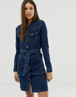 JDY dark denim mini dress with belt