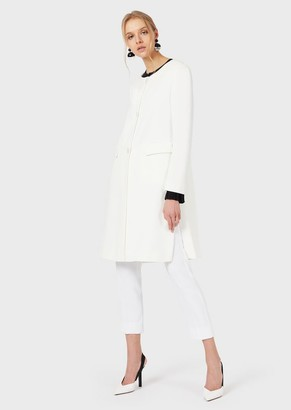Emporio Armani Cady Crepe Overcoat With Back Belt