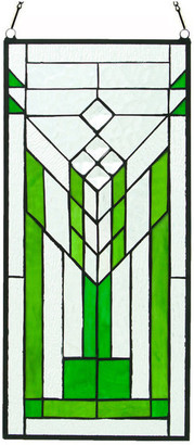 """clear 19.5"""" Stained Glass Mission Green and Window Panel"""
