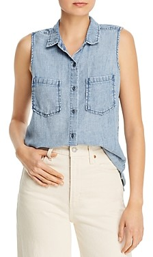 BILLY T Sleeveless Ruffled Button-Down Shirt