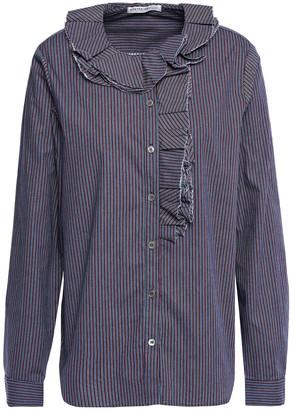 Stateside Ruffle-trimmed Striped Cotton-poplin Shirt