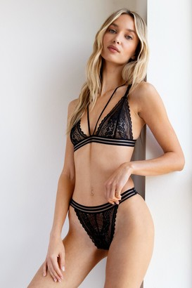 Nasty Gal Womens Set the Lace Strappy Bralette and Panty Set - Black - S, Black