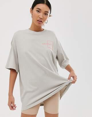 Monki oversized longline t-shirt in beige
