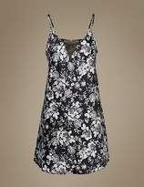Marks and Spencer Satin Floral Print Lace Detail Chemise