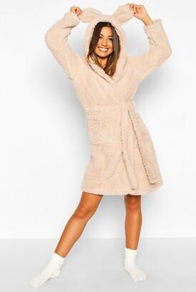 boohoo Super Soft Hooded Fleece bathrobe/robe