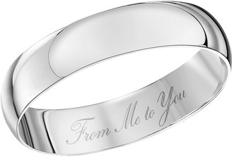 Theia Unisex 9ct White Gold Heavy D Shape Engraved 'from Me to You' Polished 4mm Wedding Ring - Size W
