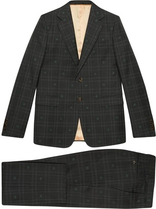 Gucci checked bee embroidered London suit