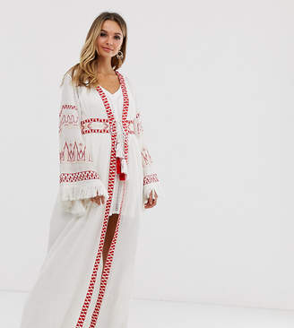 Violet Skye maxi kimono jacket with fringe sleeves and tassels in cream