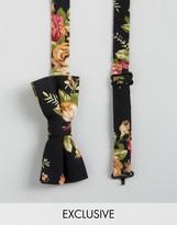 Reclaimed Vintage Inspired Floral Bow Tie In Black