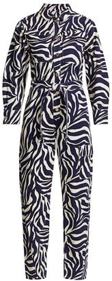 Essentiel Antwerp Zebra Print Belted Jumpsuit