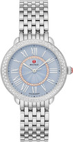 Michele Serein Mid Stainless Diamond Dial Watch, Blue/Silver