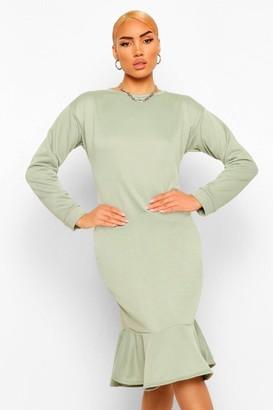boohoo Frill Hem Midi jumper Dress