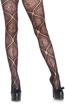 Leg Avenue Black Nouveau Vine Lace Pantyhose