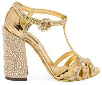 Dolce & Gabbana Embellished Peep-Toe T-Strap Sandals