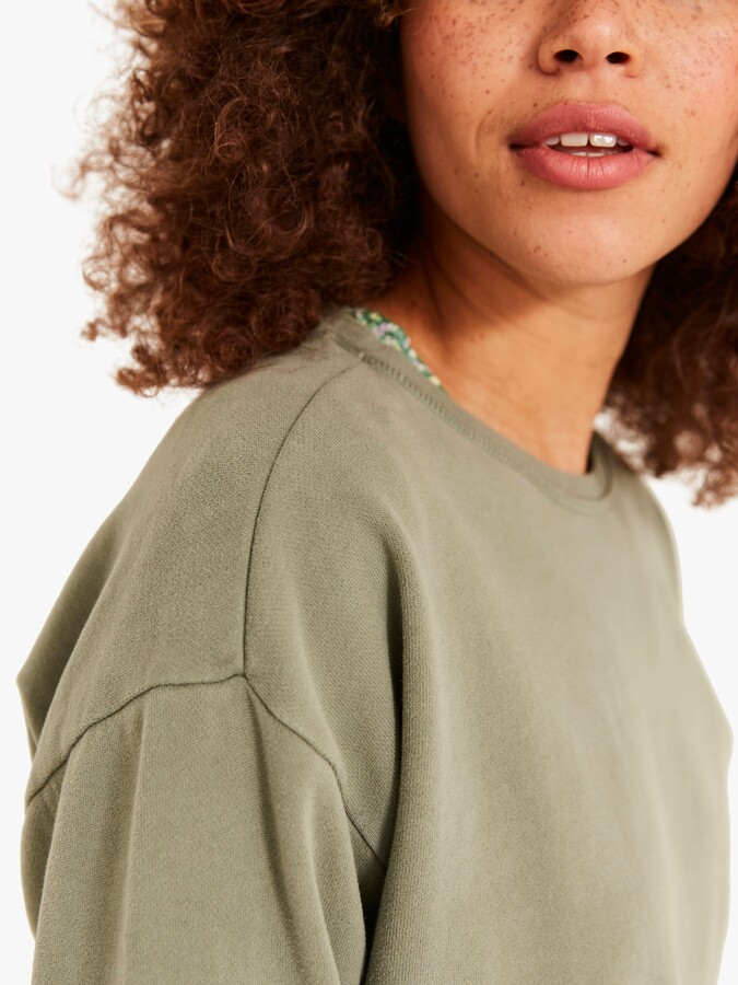 Thumbnail for your product : Fat Face FatFace Jennifer Crew Neck Top, Soft Sage