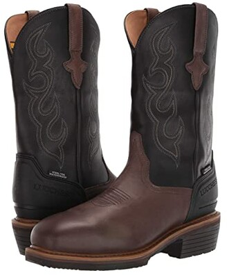 Lucchese 12 Welted Western Work Boot - Steel Toe Waterproof (Mocha/Black) Men's Boots