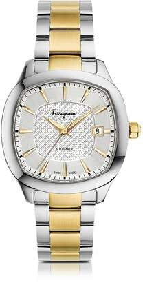Salvatore Ferragamo Time Silver Stainless Steel and Gold IP Men's Automatic Watch w/Silver Guilloche' Dial